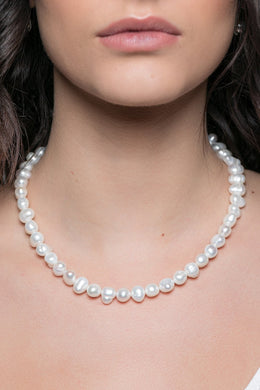 Beaded Freshwater Pearl Silver Necklace