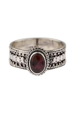 Garnet Balinese Dot Silver Band Ring