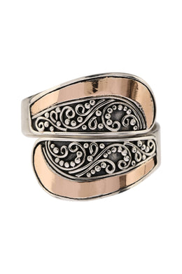 Wrapped Gold Plate Filigree Silver Ring
