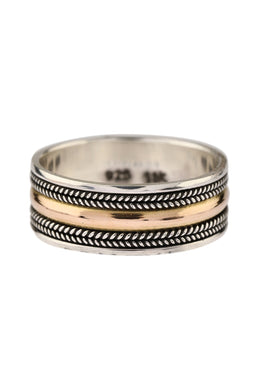 Rope Edge Gold Plate Silver Ring