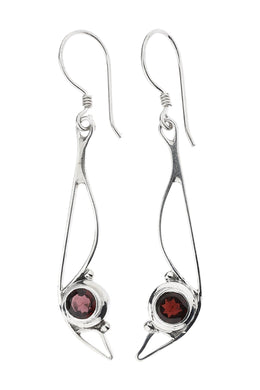Fine Garnet Irregular Silver Earrings