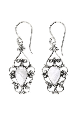 Rainbow Moonstone Teardrop Filigree Silver Earrings