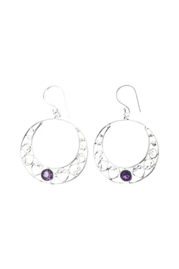 Swirl Hoop Amethyst Silver Earrings