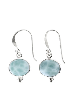 Oval Larimar Droplet Silver Earrings