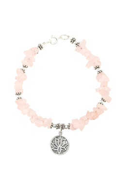 Lotus Gemstone Chip Silver Bracelet