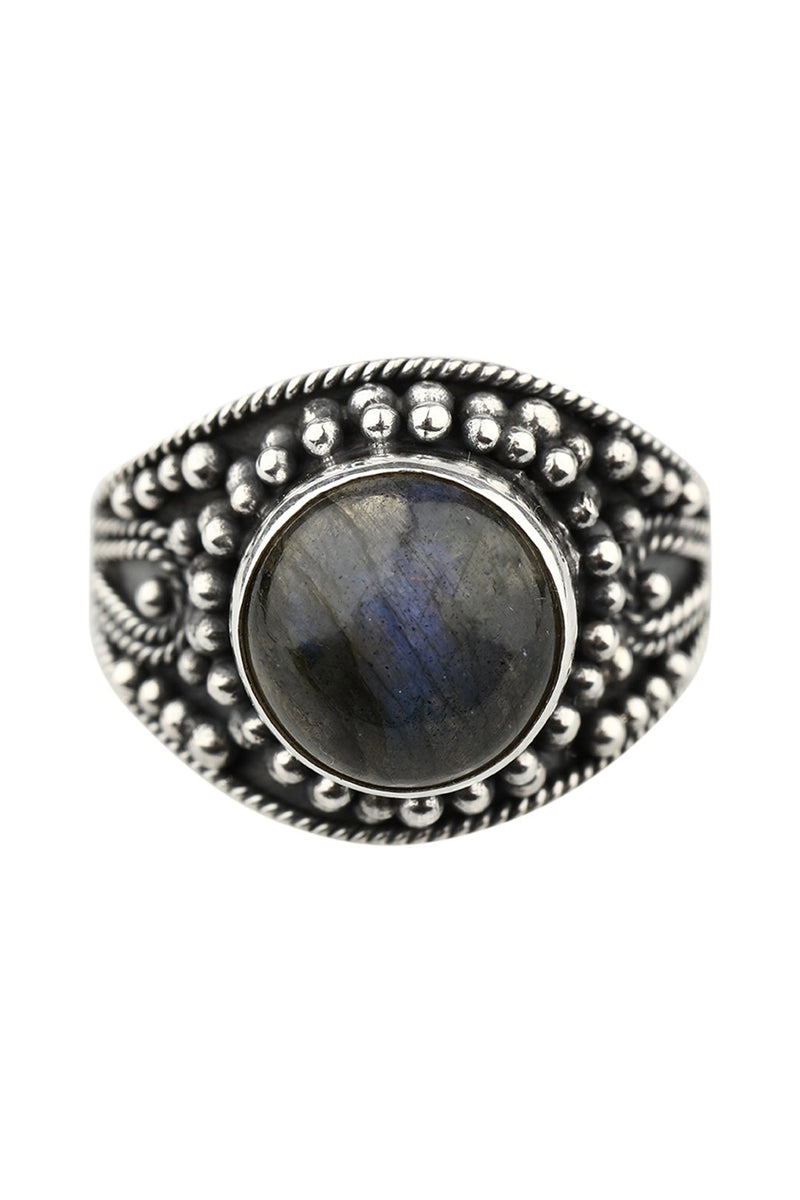 Labradorite Dotted Setting Silver Ring
