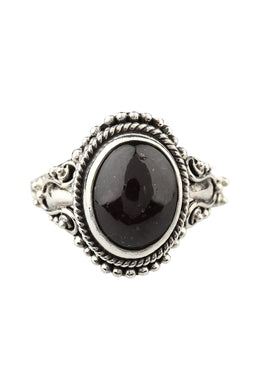 Oval Black Onyx Tribal Silver Ring