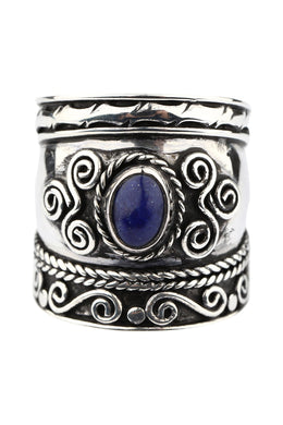 Lapis Swirl Shield Silver Ring