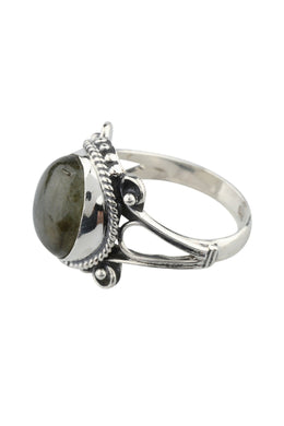 Labradorite Braided Edge Silver Ring
