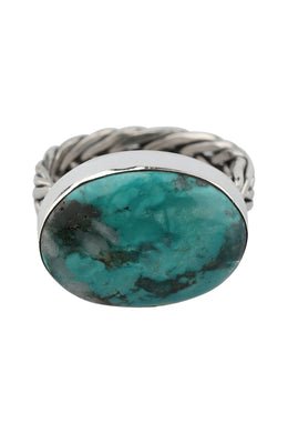 Turquoise Twisted Silver Ring