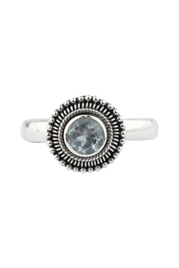 Blue Topaz Detailed Setting Silver Ring