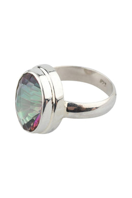 Raised Mystic Quartz Silver Ring