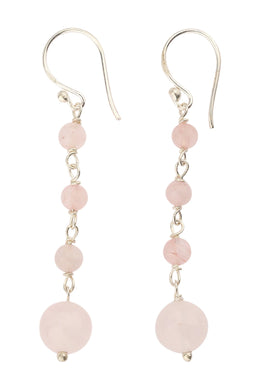 Multi Rose Quartz Droplet Silver Earrings