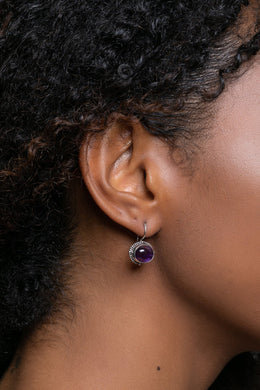 Oval Amethyst Silver Earrings