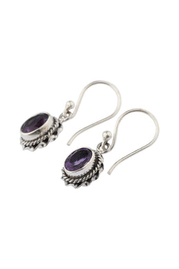 Oval Amethyst Twisted Silver Earrings