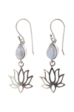 Open Lotus Moonstone Droplet Silver Earrings