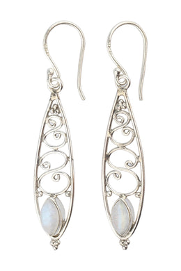 Moonstone Swirls Silver Earrings