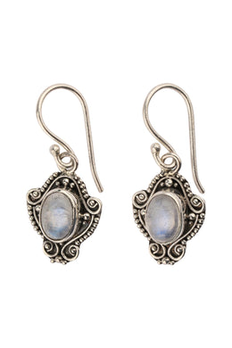 Moonstone Droplet Tribal Silver Earrings