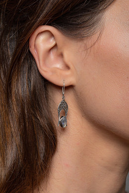 Marquise Moonstone Tribal Silver Hook Earrings
