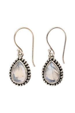 Moonstone Teardrop Silver Earrings