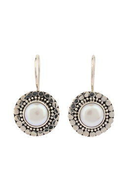 Round Freshwater Pearl Jawan Geplak Silver Earrings