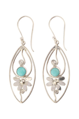 Turquoise Floral Swirl Silver Earrings