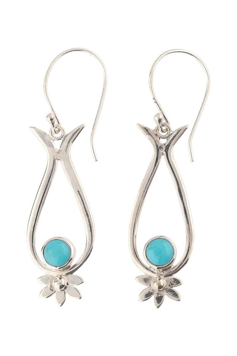 Turquoise Flower Edge Silver Earrings
