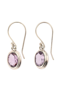 Raised Amethyst Oval Case Silver Earrings