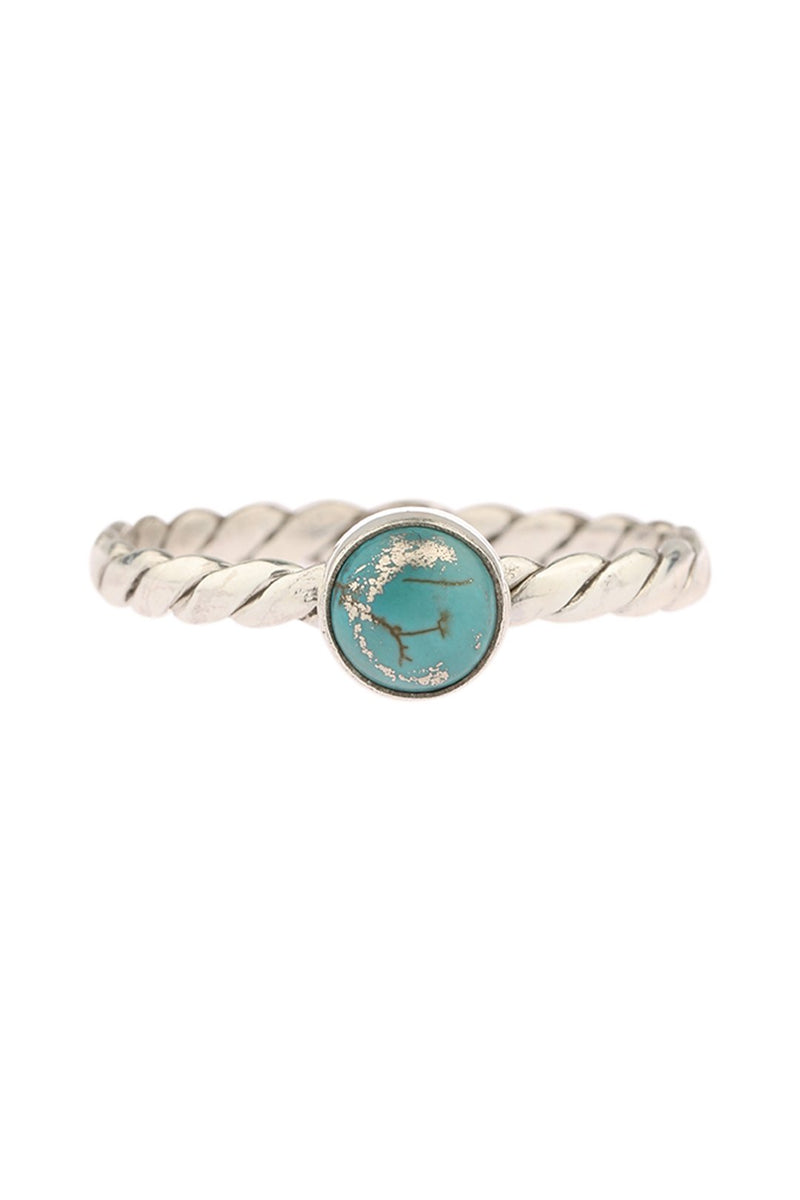 Turquoise Fine Rope Band Silver Ring