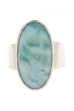 Wide Band Larimar Ring