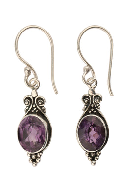 Oval Amethyst Ornate Silver Earrings