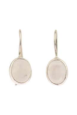 Oval Moonstone Hook Silver Earrings