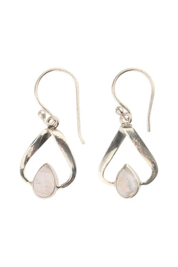 Teardrop Wrapped Moonstone Silver Earrings