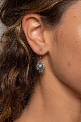 Turquoise Filigree Wrapped Silver Earrings