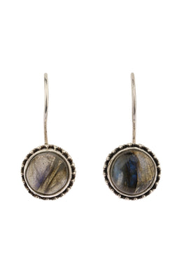 Round Labradorite Hook Silver Earrings