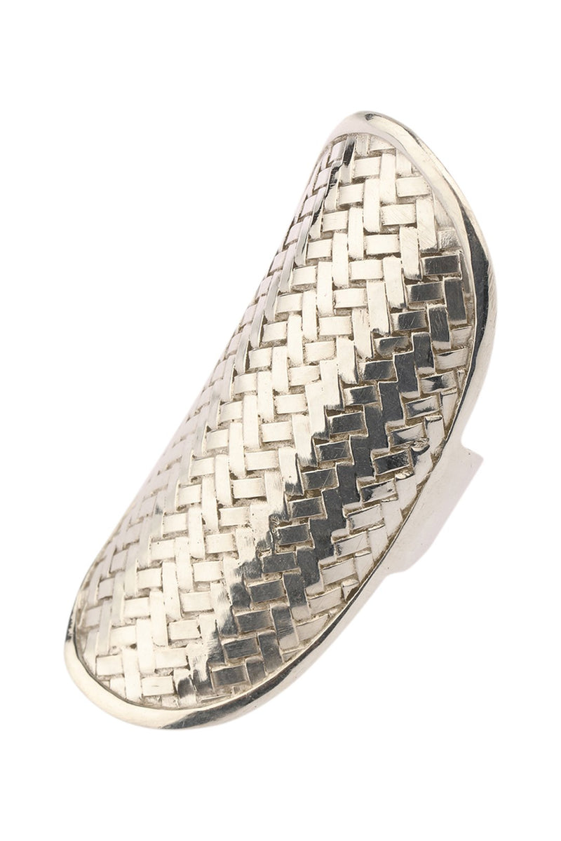 Basket Weave Silver Shield Ring