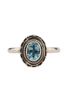 Raised Setting Blue Topaz Silver Ring