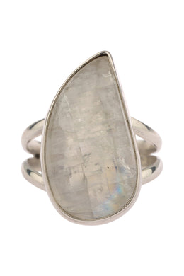 Rainbow Moonstone Split Band Silver Ring
