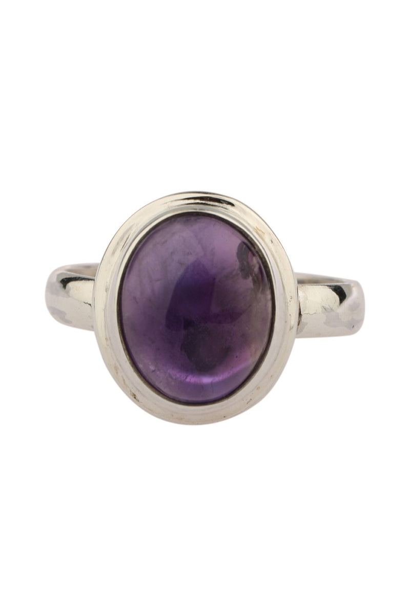 Raised Amethyst Silver Ring