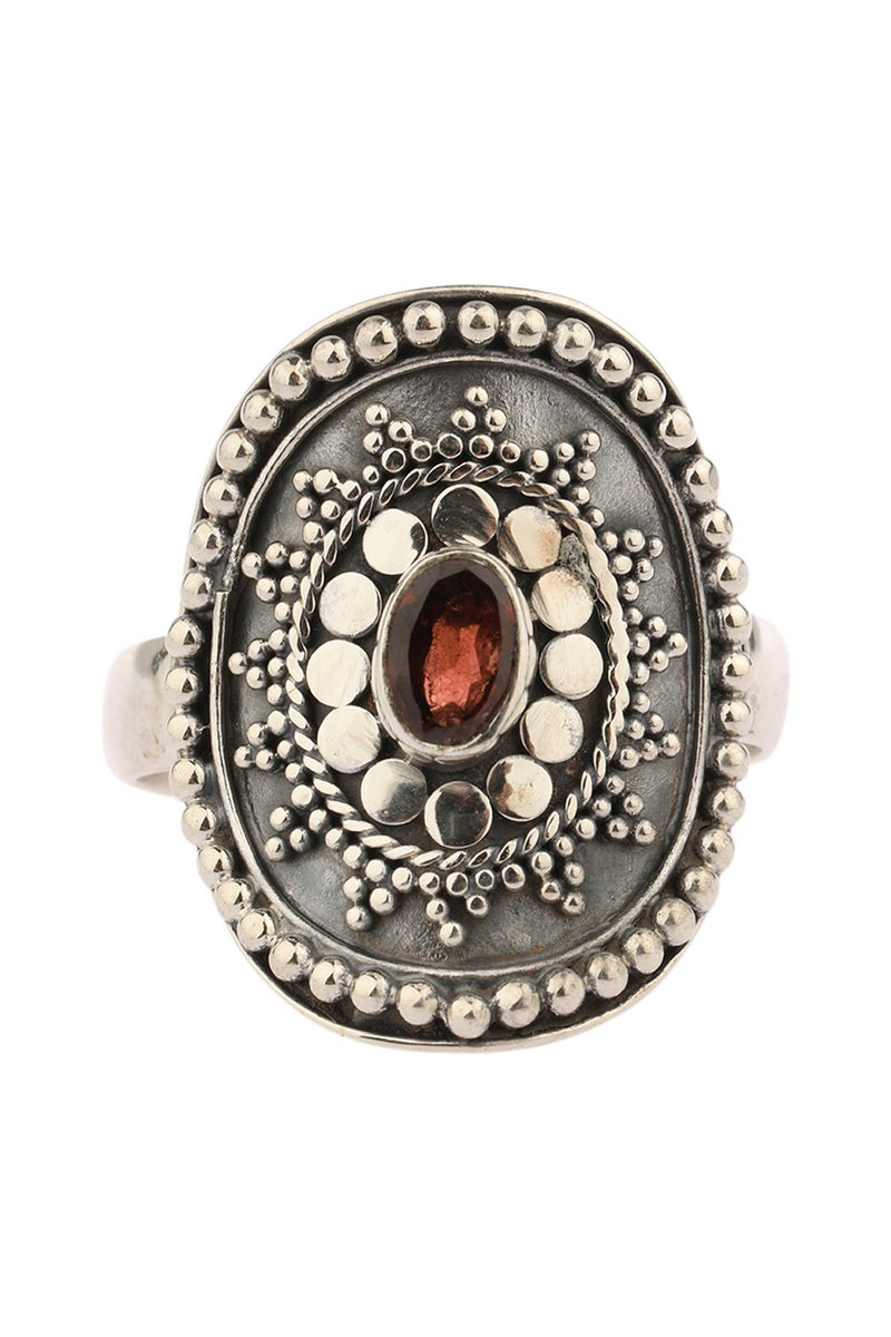 Garnet Tribal Shield Silver Ring