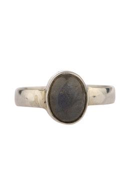 Labradorite Narrow Band Silver Ring