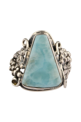 Ornate Larimar Grape Vine Silver Ring