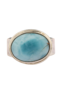Larimar Wide Band Silver Ring