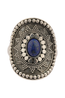Lapis Tribal Shield Silver Ring