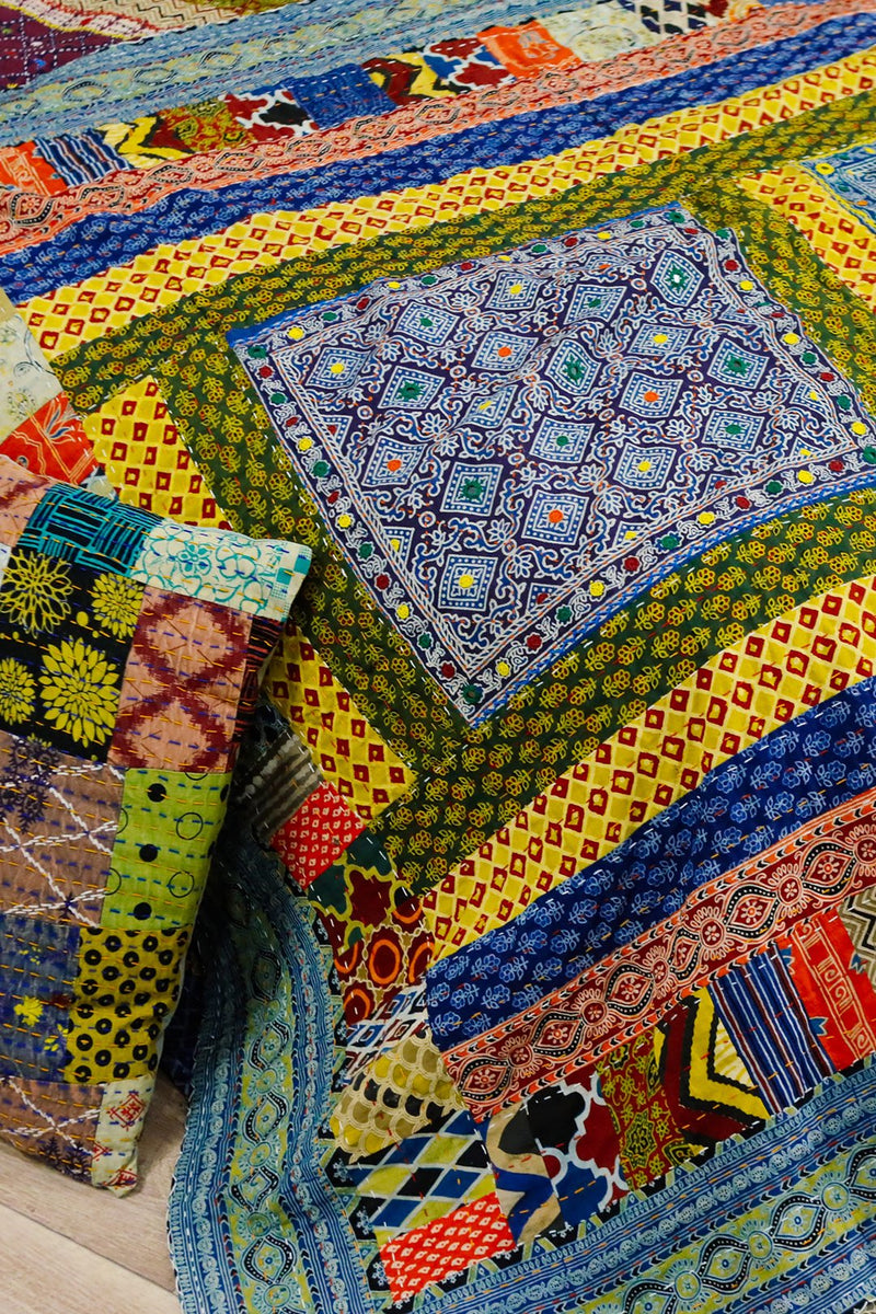 Assorted Embellished Patchwork Bedcover