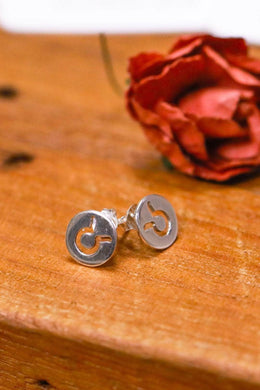 Zodiac Cut Out Silver Stud Earrings