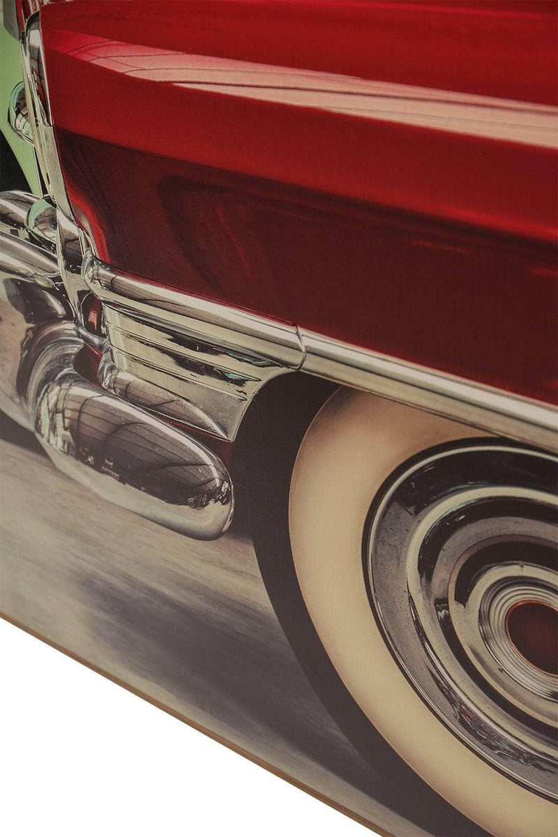 Vintage Red Car Framed Canvas Print