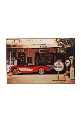 Retro Garage Framed Canvas Print