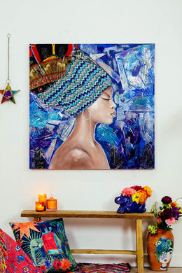 Blue Scarf Woman Oil Painting Print