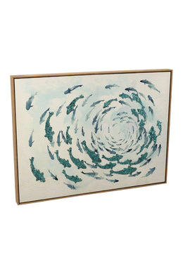 Aqua Fish Whirl Canvas Print